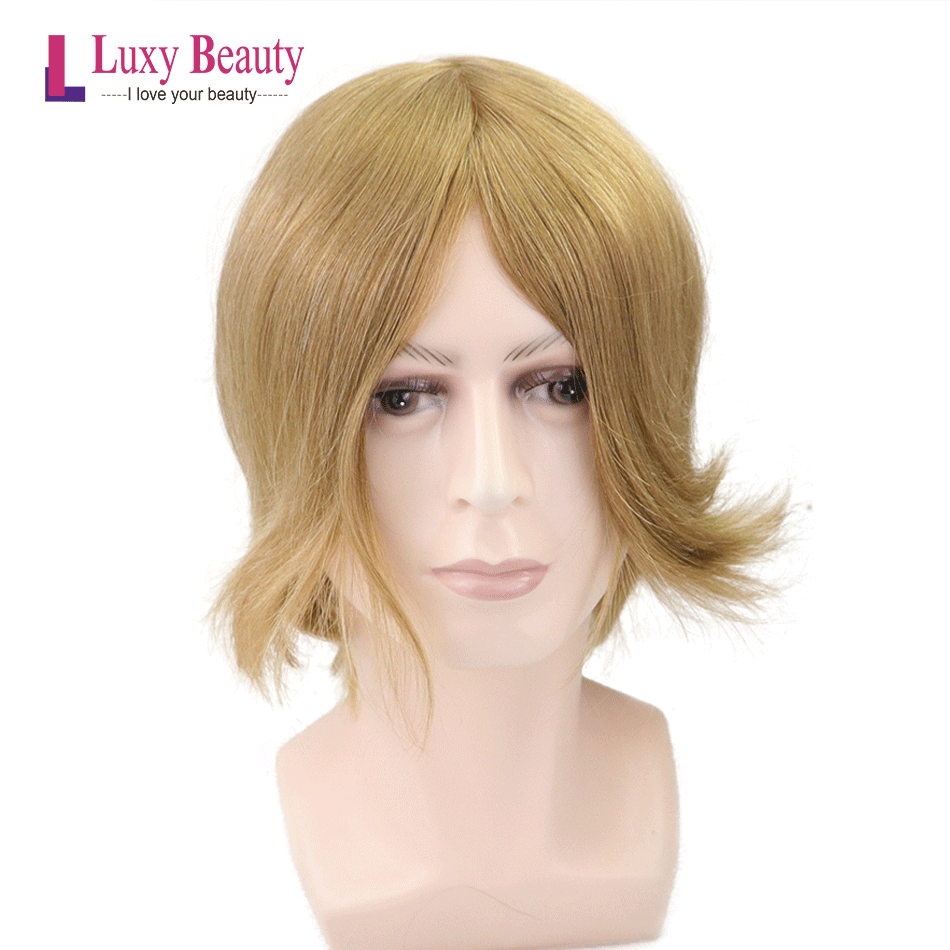 Transparent PU Men's'Toupee 7'x9' Durable Thin Skin Hair Repacement European Remy Hair Men's Wig Blond Color 8x10inch Wig For Me