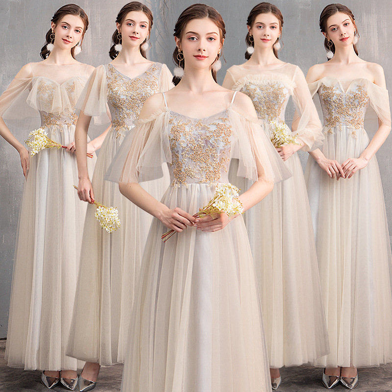 New Bridesmaid Dresses Champagne Appliques Wedding Party Gowns 2020 A-Line Long Formal Dress O-Neck Short Sleeve Vestidos R074