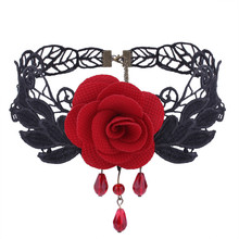 Готическое винтажное кружевное короткое ожерелье Женская Большая роза чокер из смолы в виде капли воды Маленькая подвеска Классическая мода ожерелье s