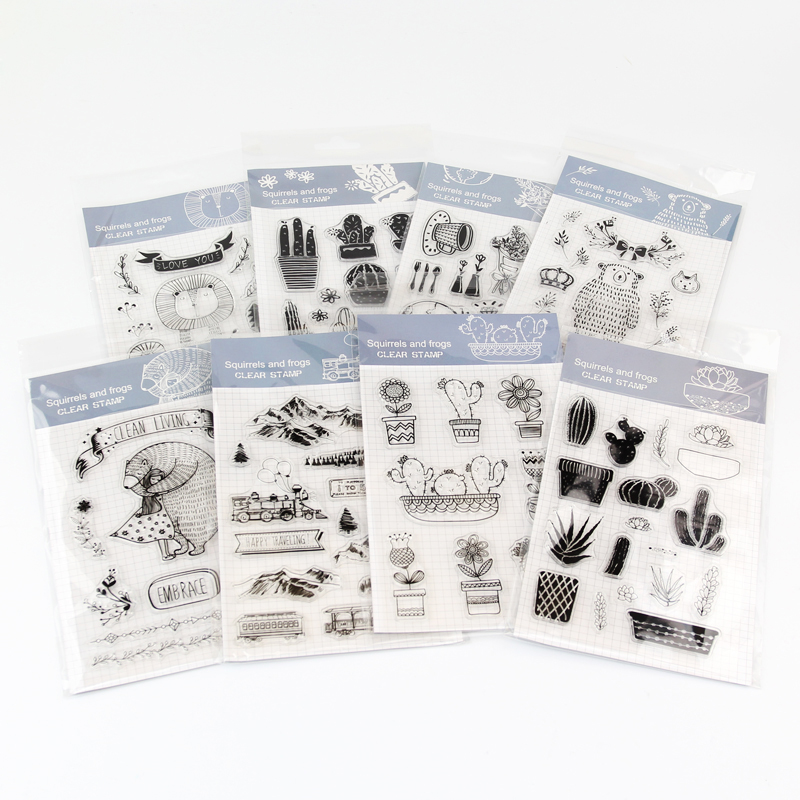 8patterns plant animal cactus meat clear stamp back to school rubber plastic hobby DIY scrapbooking craft cute size