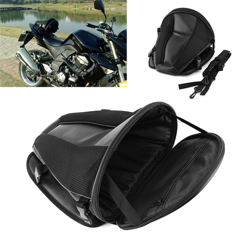 Motorcycle Sport Rear trunk Seat Waterproof Carry Luggage Tail Bag Saddlebag BLK