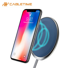 2019 Cabletime Charger Nirkabel untuk X/X/8 Samsung S9/S8 USB Charger Pad 10W Cepat ponsel Nirkabel Charger Pengisian Cepat C160(China)
