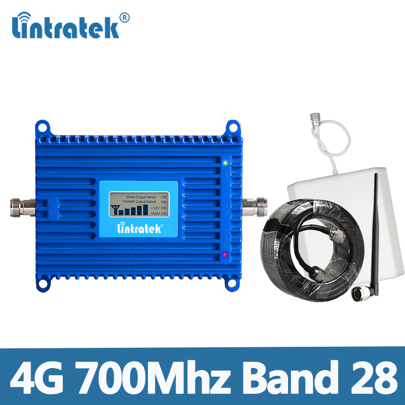 Lintratek 4G Band 28 Signal Repeater Ampli 4G 700Mhz Cellular Booster AGC 70dB High Gain LTE B28 Cellphone Amplifier For Interne