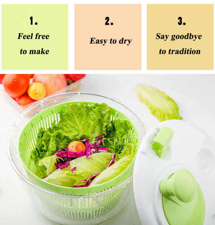 Faroot и множество других 6.5L Ёмкость прочный центрифуга для обсушки салатных листьев большой барабан Бесплатная ручки фрукты сушилка для овощей Новый чаши зеленый Кухня расходные материалы