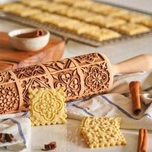 Teste padrão requintado rolo pino de madeira ferramentas de cozimento de gravação de massa de rena gravado quadrado grade cookies molde