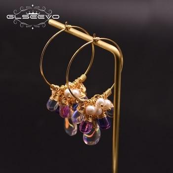 GLSEEVO Original Design Handmade Hoop Earrings For Women 925 Sterling Silver Fresh Water Pearl Colorful Tassel Earrings GE0904