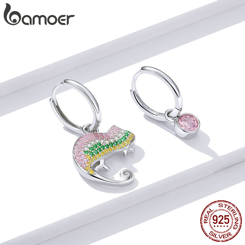 bamoer GAE368 925 Sterling Silver Exquisite Chameleons Hoop Earrings Women Festival Gift Fine Jewelry Hypoallergenic Earrings