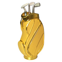New Gold Creative Golf Bag Style Desktop Pen Holder Pencil Container with Three Golf Club Style Pen Gift for Students Golfer