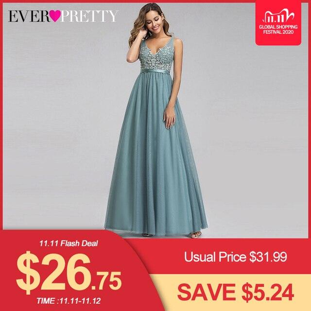 Sempre bonito tule vestidos de dama de honra das mulheres com decote em v apliques elegantes vestidos longos para festa de casamento ep00930 vestidos de madrinha