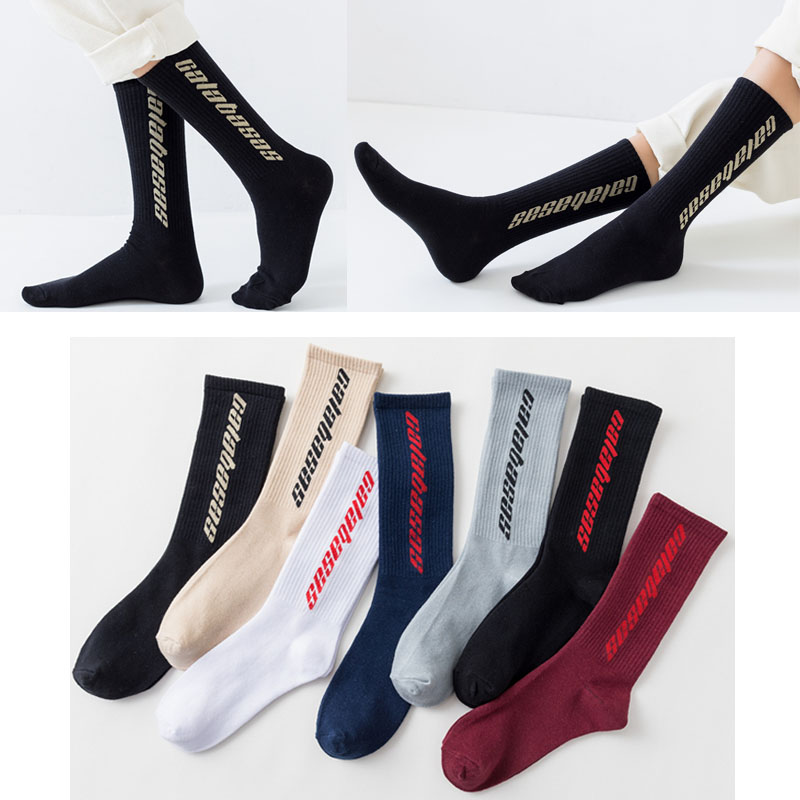 Fashion Men Cotton Socks Women Streetwear Kanye West Ins Crew Socks Hip Hop Letter Calabasas Socks Long Skateboard Sock Mens