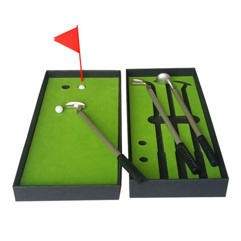 Golf Mini Course Pole Club Set Golf Pen Set Mini Desktop Golf Ball Pen Gift Set Putting Green Flag Golf Clubs Models Ballpoint