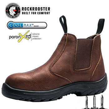 ROCKROOSTER Men's Safety Shoes Working Boots Man Genuine Leather Waterproof Chelsea Slip On Ankle Boots Male Cowboy Casual Shoes
