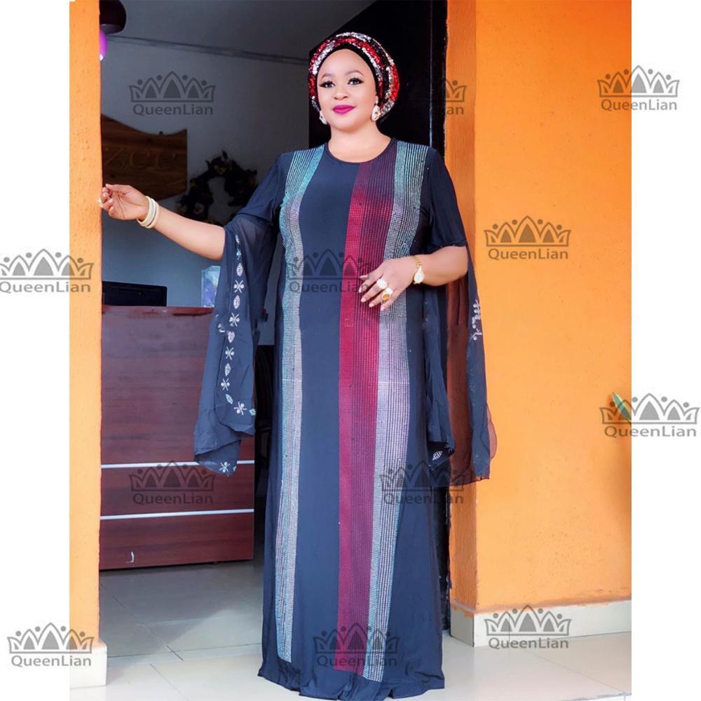 African Clothing 2019 Diamond Long Dress With Chiffon Sleeve  Dashiki Dress For Lady ZX#