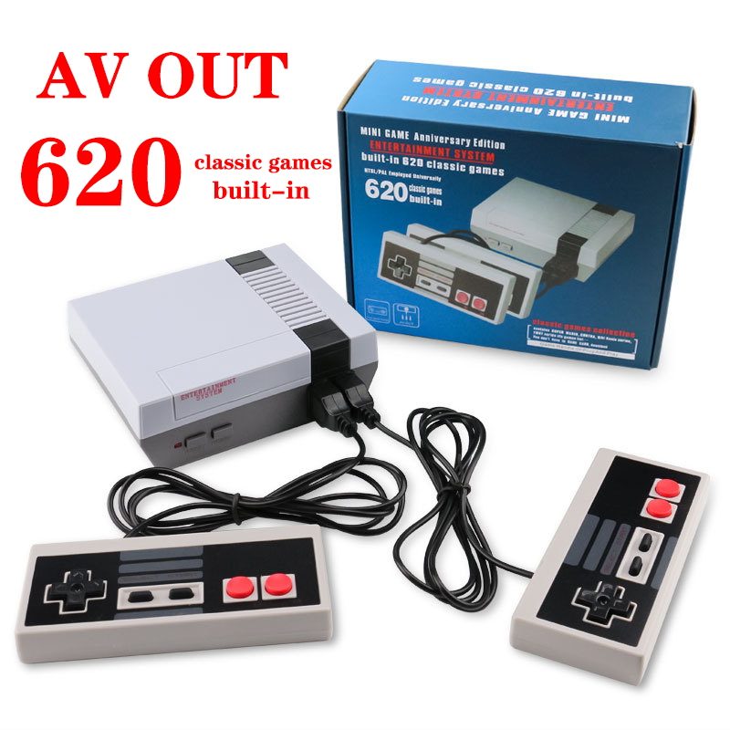 Retro Mini TV Game Console Built-in 620 Games AV Out Handheld Gaming Player Video Gaming Console Games Potable Mini Controller