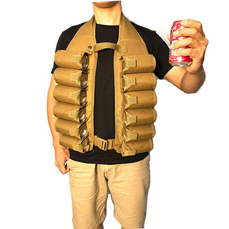 12 Can Beer And Soda Pocket Vest Heavy Duty Brew Soda Holder Bag For Party Camping Barbeque