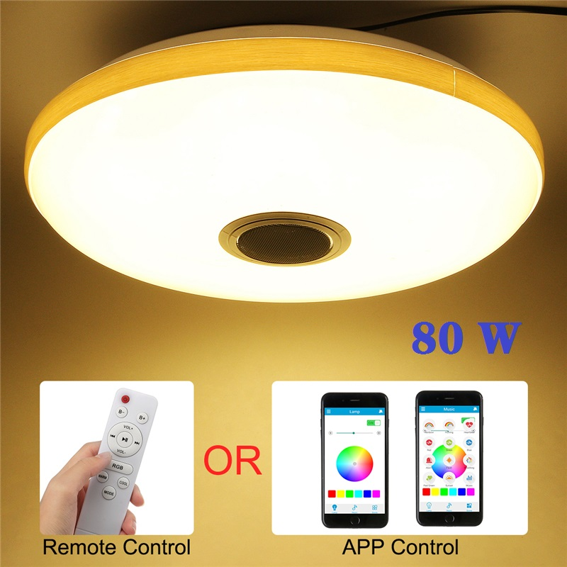 novo 80 w led musica luz de teto rgb bluetooth lampada de alto falante 108led luzes