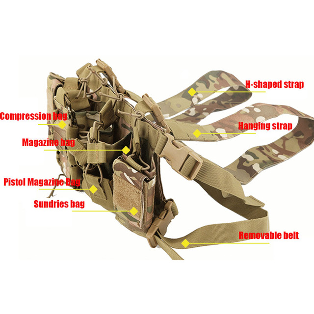 Functional Tactical Chest Bag Airsoft Hunting Vest Waist Pack Military Magazine Radio Harness Pouch Holster Army Chest Rig Bag 2
