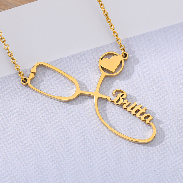 Custom Stethoscope Name Necklace Stainless Steel Gold Chain Choker Nurse's Customized Charm Necklace For Women Men Bff Jewelry