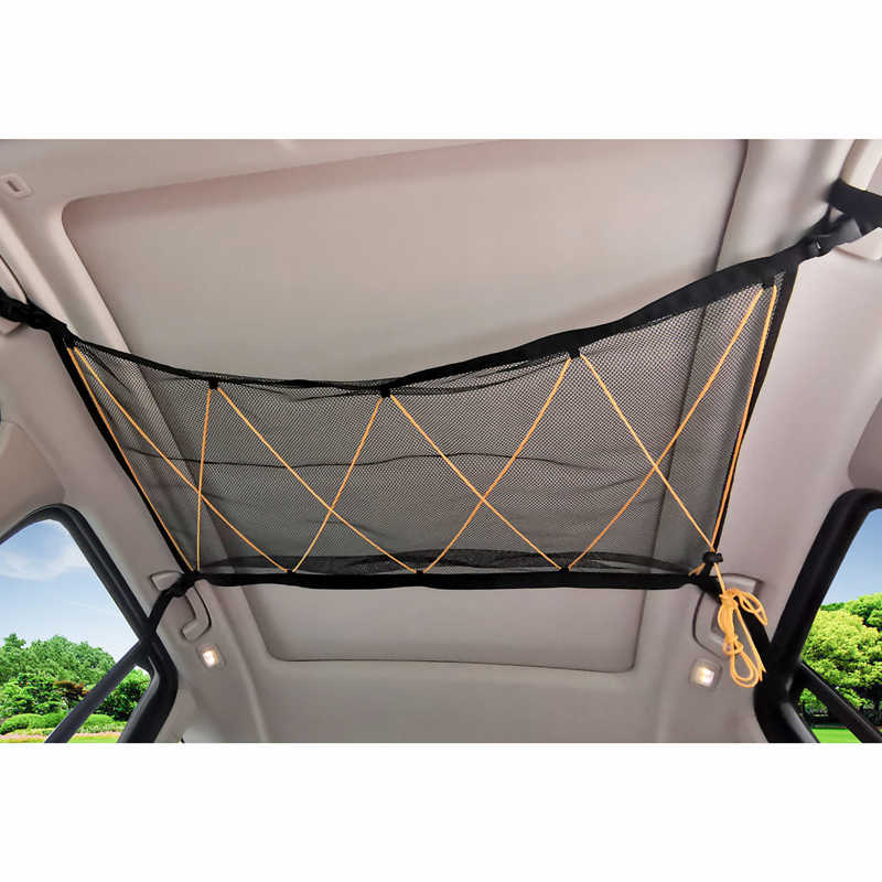 Car Roof Interior Cargo Net Bag Pocket with Drawstring Sundries Storage Bag for Most Vehicles Car Ceiling Storage Net Universal Mesh Cargo Net