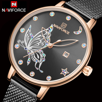 NAVIFORCE 5011 Butterfly Watch Women Luxury Fashion Casual watch with box