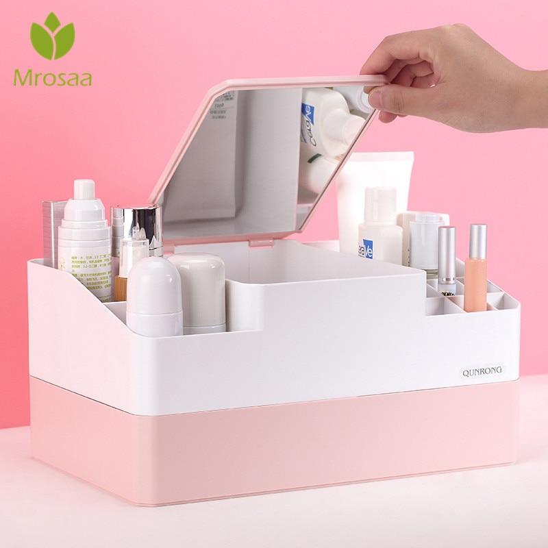 Plastic Makeup Organizer Box Cosmetics Storage Container Lipstick Holder Jewelry Organizer With Mirror Sundries Case Makeup Box