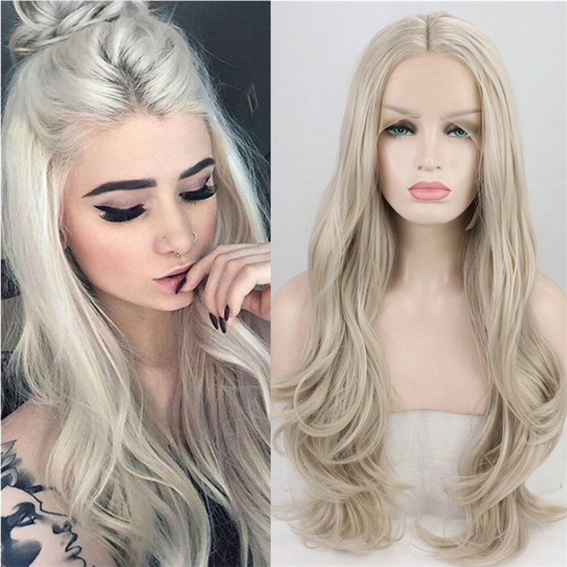 Ash Blonde #60 Body Wave Hair Wigs 13*4 Lace Front Wigs Natural Hairline Glueless Wigs For Women Synthetic Wig With Baby Hair