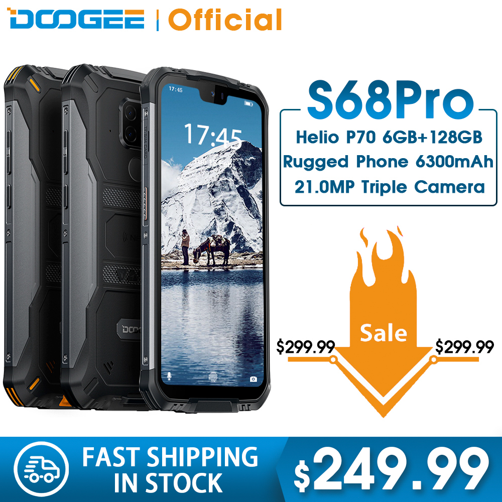 DOOGEE S68 Pro IP68 Waterproof Rugged Phone Helio P70 Octa Core 6GB 128GB Wireless Charge NFC 6300mAh 12V2A Charge 5.9 Inch FHD+