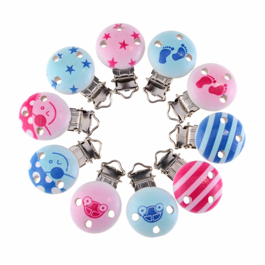 5PCS DIY Accessories Pacifier Clip A Variety Of Candy-colored Clip Baby Pacifier Chain Accessories Wooden Clip