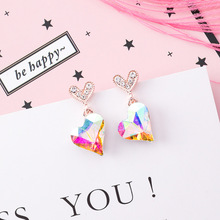 Korean New Sparkling Colored Love Earrings Colorful Crystal Peach Heart Tassel Statement Dangle Rhinestone Earrings цена