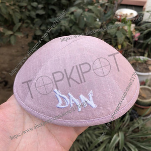 Image 1 - HARD PINK LINEN KIPPAHS WITH WHITE EMBROIDERY OF DAN