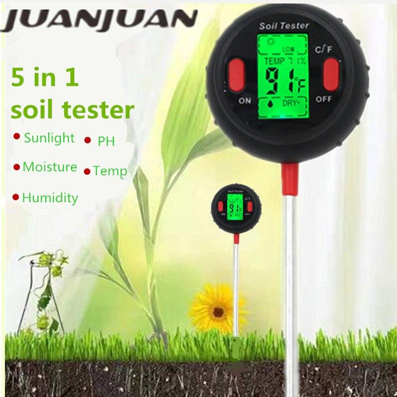 3/4/5 In 1 Soil Ph Meter Soil Tester PH Moisture Meter Temperature Sunlight Intensity Measurement Analysis Acidity Alkali 40%off