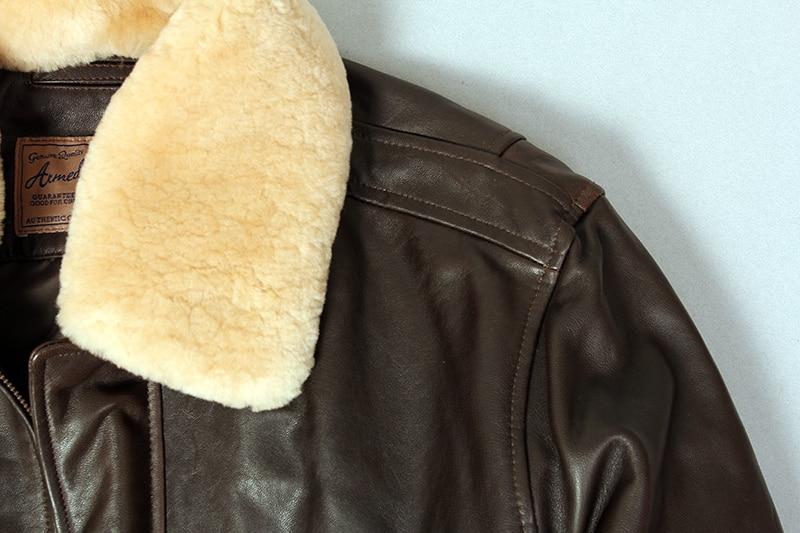 H0e16a69b071249e98b31ea76b7554315G Military air force flight jacket fur collar genuine leather jacket men winter dark brown sheepskin coat pilot bomber jacket