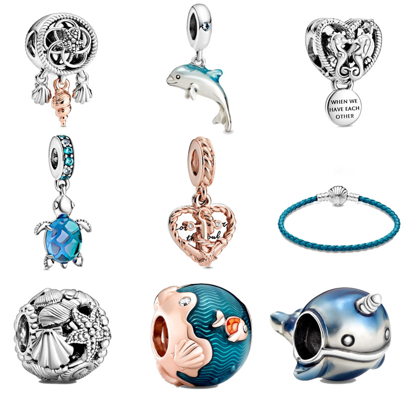 2020 Summer Real 925 Sterling Silver Charm Ocean series Beads fit Original Pandora Charms Bracelet Women DIY Jewelry