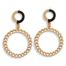 European and American new exaggerated fashion chain earrings simple metal circle retro Joker earrings(China)