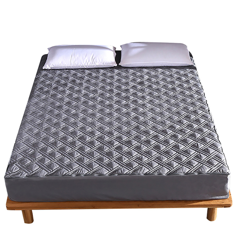 Anti Dust Mite Bed Cover Quilted Embossed Waterproof Mattress Protector Fitted Sheet Style Cover for Mattress Thick Soft Pad image
