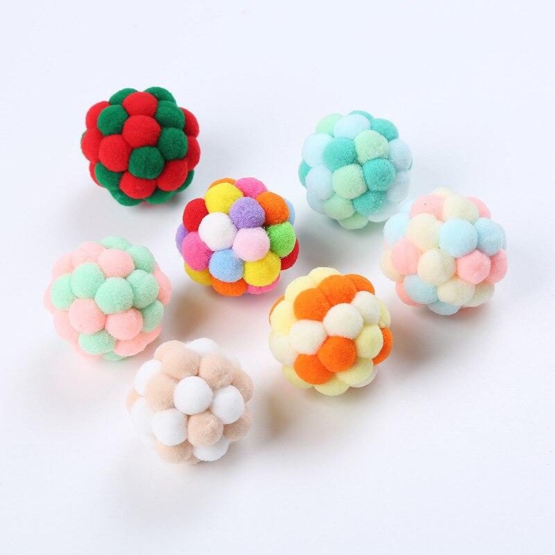 Juguete para gatos, pelota hinchable colorida hecha a mano, para gatitos, campana de peluche, ratón, Planeta, bola para gatos, suministros interactivos para mascotas