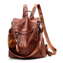 women backpack plush ball Fashion for girls school bags teenage PU leather 2019