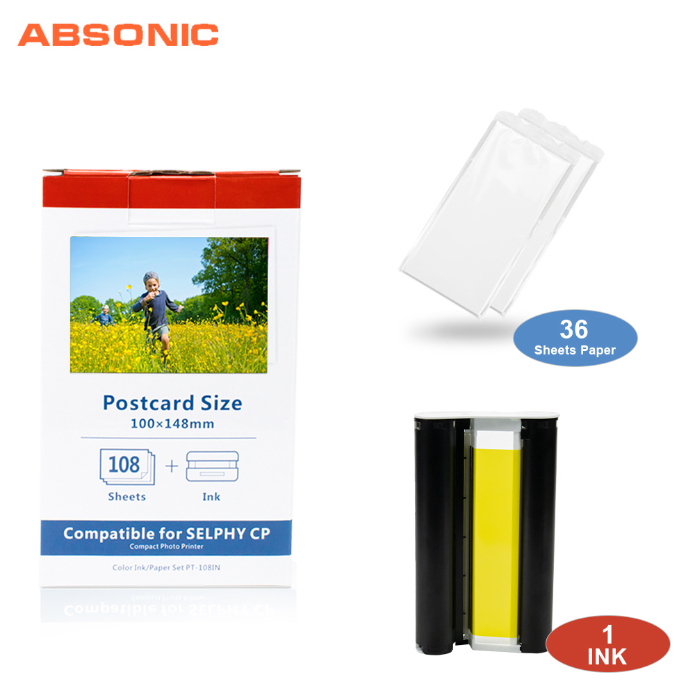Absonic CP1300 for Canon Selphy Ink Paper Set 1 Ink+36 Sheet Photo Paper for Canon CP1200 CP910 CP900 Printer KP 108IN KP 36IN|Printer Ribbons| |  - title=