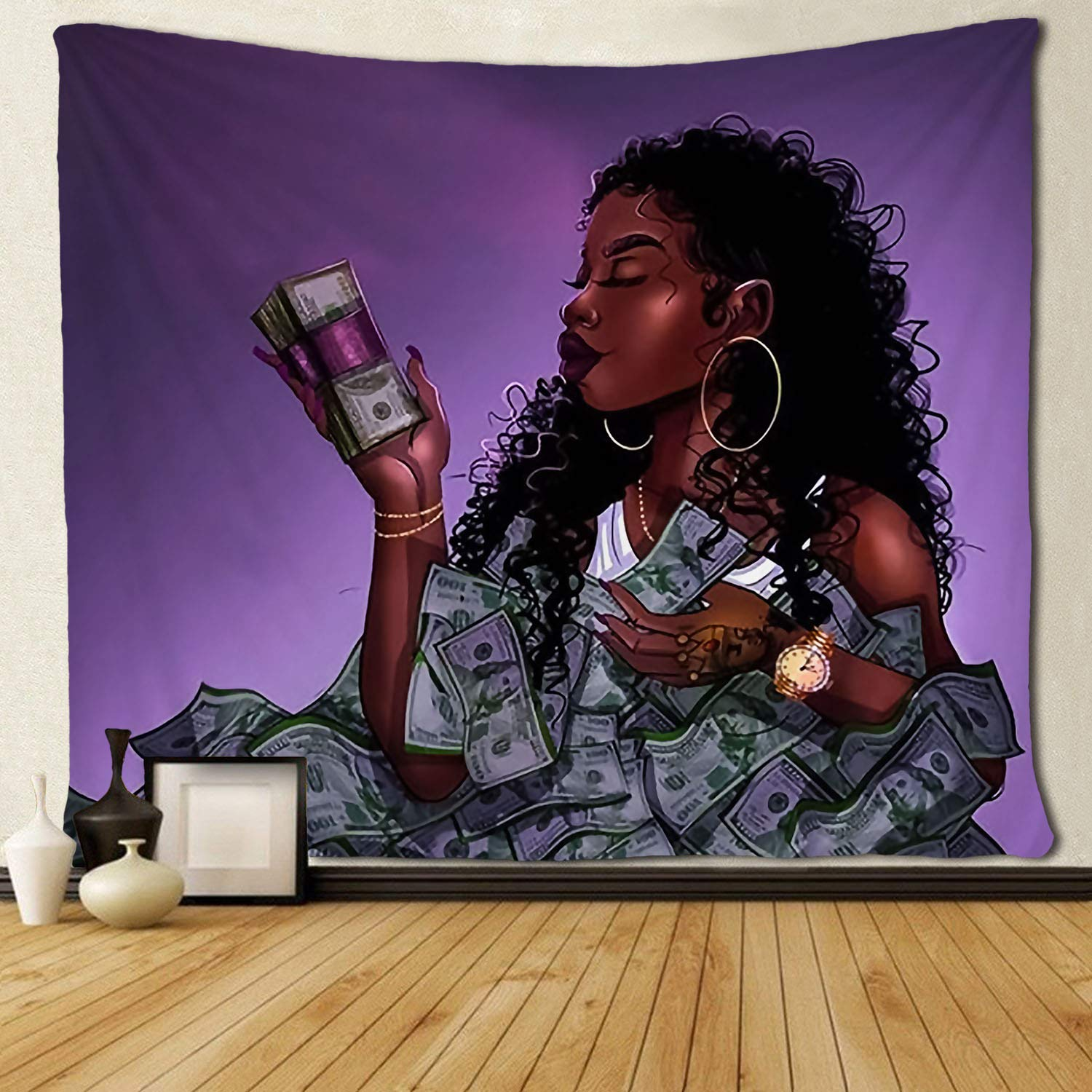 Black Art Tapestry Afro African Ameircan Women Girl Love Us Dollor Money Wall Hanging