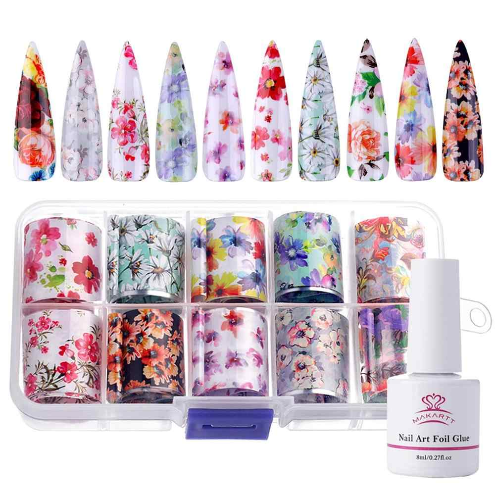 Makartt Nail Art Folie Lijm Gel Met Sterrenhemel Ster Folie Stickers Set Nail Tips Transfer Manicure Art Diy 8 ml, 10 Pcs 2.5cm100cm