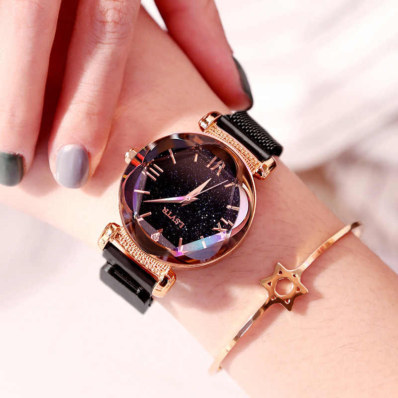 豪華な女性のファッションエレガントなマグネットバックルビブラート紫色の女性腕時計 2019 新星空スカイローマ数字ギフト時計