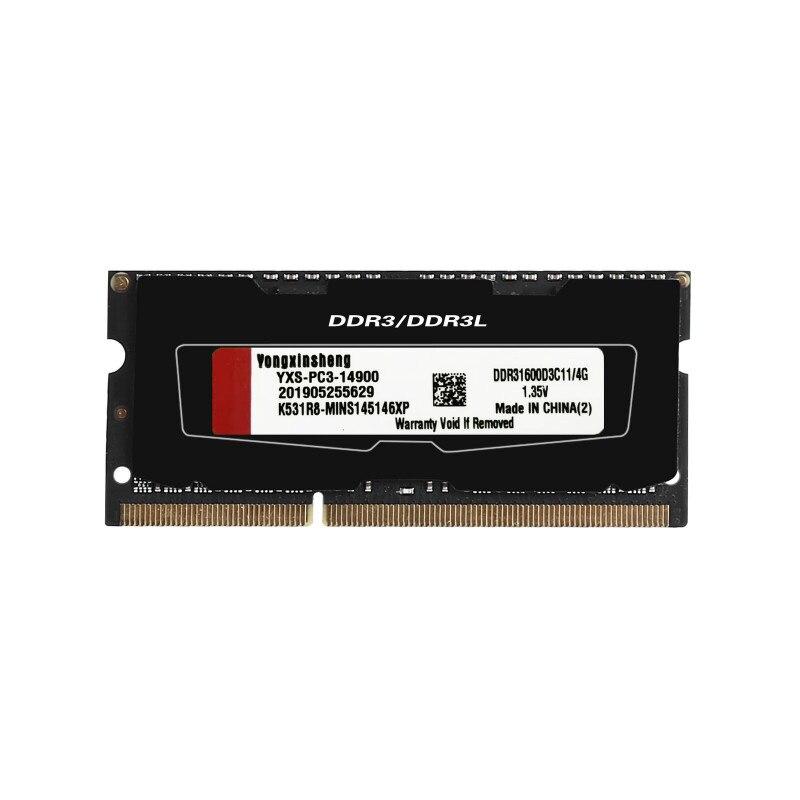 Yongxinsheng 2GB 4GB 8GB RAM PC3L-12800 14900 Laptop SO-DIMM DDR3L 1600 1866MHz Memory RAM 1.35V NON ECC