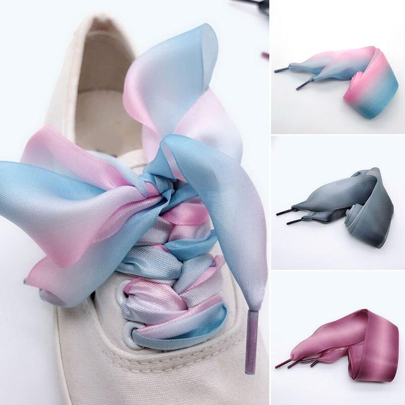 1Pair 4cm Wide Organza Gradient Color Shoelace Canvas Shoes  Sneaker Sport Shoes Fashion Personality Ribbon Shoe Laces Women