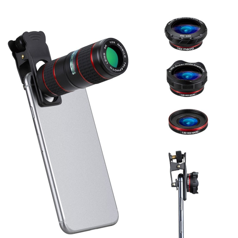 5 In 1 12X Adjustable Telephoto Lens Wide Micro Angle Fisheye Lenses With Portable Case|Mobile Phone Lens| |  - title=