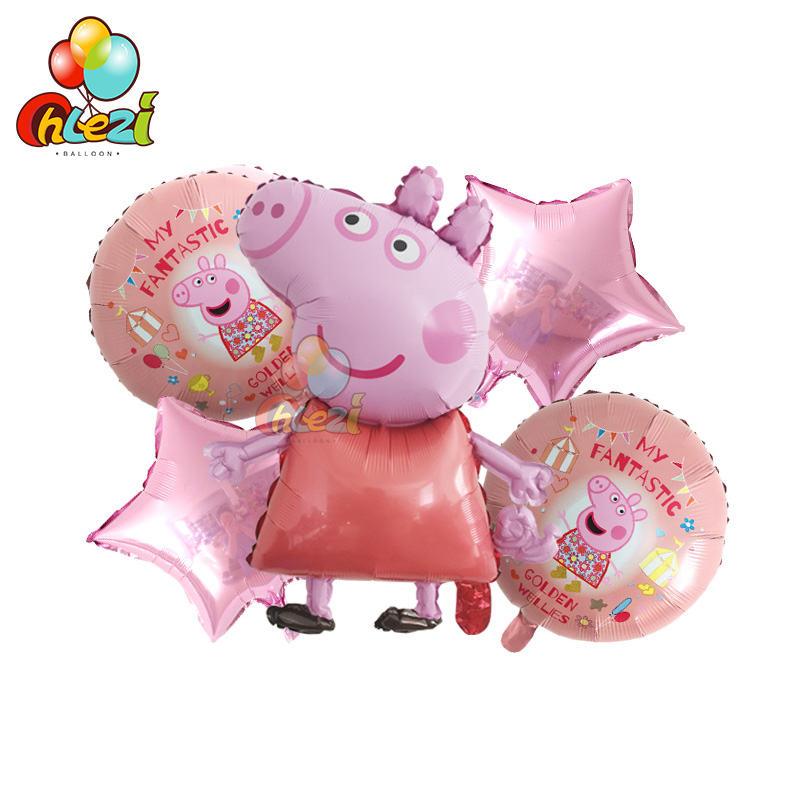 5pcs PEPPAPIG Foil Balloons Baby Shower Birthday Gift Birthday Party Decorations Kids Toys Girl Boy Globos Peppa Pig George