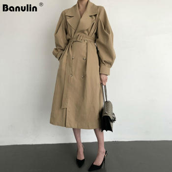 Banulin Autumn Fashion New Women Trench Coat Long Double-Breasted Belt Black Khaki Lady Clothes Winter Coat Women Outerwear fashion new women trench coat long double breasted belt blue khaki lady clothes autumn spring outerwear
