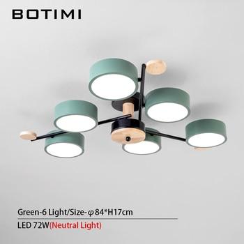 BOTIMI Indoor LED Chandelier For Master Bedroom Modern Wooden Study Room Lustres Ceiling Mounted Living Room Chandeliers 15