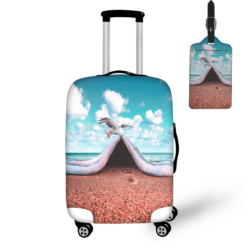 THIKIN 2019 Art Animals Design Print Beach With Birds Pattern Luggage Cover Women Travel Accessories Tag Protect Case Box Custom