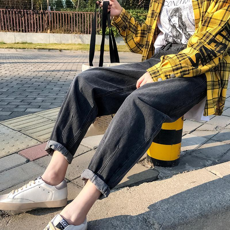 Jeans Women Solid Harem Denim Ankle-length Loose Student Simple Korean Style High Waist BF Ulzzang Streetwear Womens Trousers