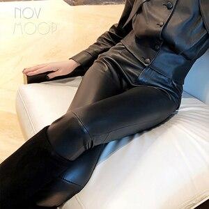 Image 4 - אמריקאי הולם סגנון נשים החורף שחור בינוני מותניים כבש אמיתי עור למתוח מכנסי עיפרון pantalon femme LT2972